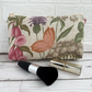 Make up bag, cosmetic bag with wildflowers and butterfly