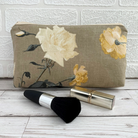 Make up bag, cosmetic bag with white and yellow roses