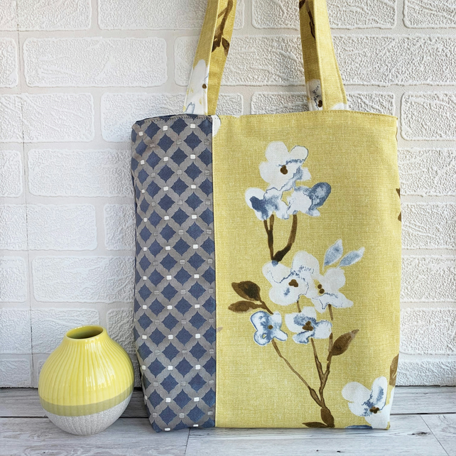 SOLD - Floral and Lattice Pattern Tote Bag in Mustard Yellow and Blue