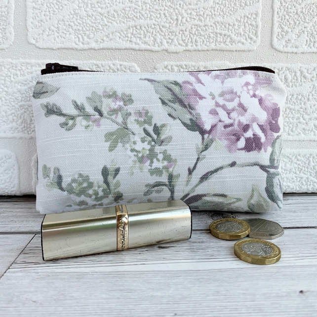 Large Purse, Coin Purse with Floral Pattern in Pastel Lilac and White