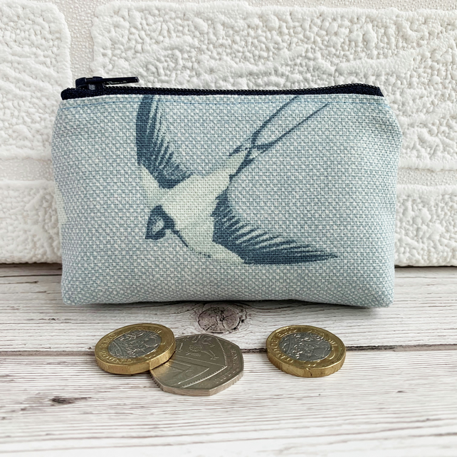 Small Purse, Coin Purse in Blue with a Flying Swallow