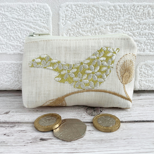 Small purse, coin purse with lime green stylised bird