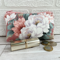 Large Purse, Coin Purse with Pink and White Rose Pattern