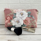 Make up Bag, Cosmetic Bag with Pink and White Rose Pattern
