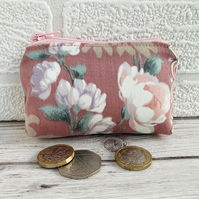 Small Purse, Coin Purse with Rose and Summer Flowers