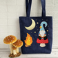 Navy Tote Bag with Scandi Gnome and Mushroom at Night