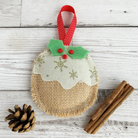 Christmas Pudding Rustic Hanging Christmas Decoration