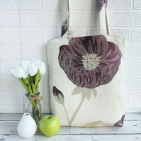 Cream Tote Bag with Large Purple and Gold Flower