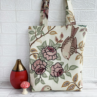 Bird and Floral Pattern Tote Bag