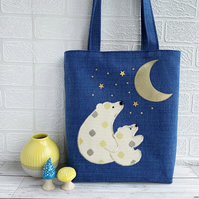 Polar Bears Tote Bag with Moon and Stars