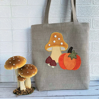 SALE Autumn Tote Bag with Pumpkin and Mushrooms