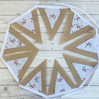 SALE Shabby chic hessian and floral print bunting