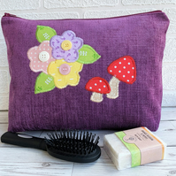 SALE Purple Toiletry Bag with Mushrooms and Flowers