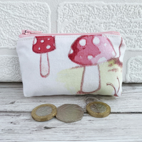 Small Purse, Coin Purse with Toadstools Pattern