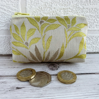 Small Purse, Coin Purse with Lustrous Gold, Lime and Silver Floral Pattern