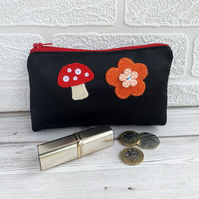 SALE Large black satin coin purse with orange and red felt flower and mushroom