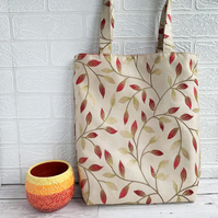 Autumn leaves tote bag in embroidered gold fabric