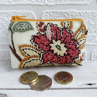 Small Purse, Coin Purse with Stylised Flower