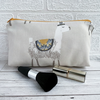 Make up Bag, Cosmetic Bag with Llama Print