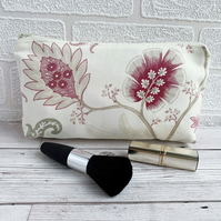 Make up Bag, Cosmetic Bag with Pink Stylised Flowers