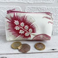 Small Purse, Coin Purse with Pink Stylised Flowers