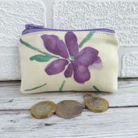 Purple flower purse, small purse, coin purse