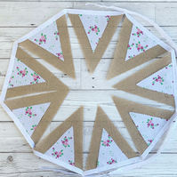 SALE Shabby Chic Hessian and Floral Print Fabric Bunting
