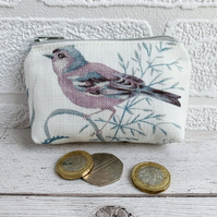 Small Purse, Coin Purse with Chaffinch and Grasses