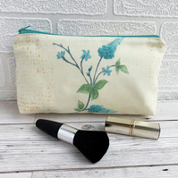 Make up Bag, Cosmetic Bag with Turquoise Flowers
