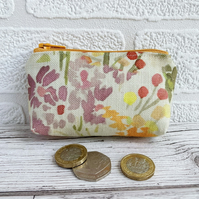 Small Purse, Coin Purse with Summer Flowers