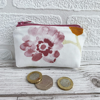 Small Purse, Coin Purse with Pastel Pink Flower