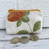 Small purse, coin purse in cream with terracotta and green flower stem