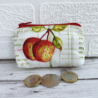 Small purse, coin purse in cream with two apples and sage green recipe script