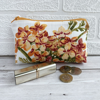 Large purse, coin purse with cluster of pink and golden yellow flowers