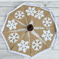 Rustic Hessian Christmas Bunting with White Snowflakes