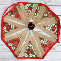 Rustic Hessian Christmas Bunting with Poinsettia Print Fabric