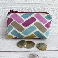 Small Purse, Coin Purse with Purple, Turquoise and Olive Herringbone Pattern