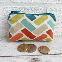 Small Purse, Coin Purse with Turquoise, Orange and Lime Herringbone Pattern