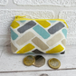Small Purse, Coin Purse with Turquoise, Yellow and Beige Herringbone Pattern