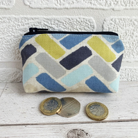 Small Purse, Coin Purse with Blue, Lime and Grey Herringbone Pattern