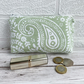 Large Purse, Coin Purse with Pale Green and White Paisley Pattern