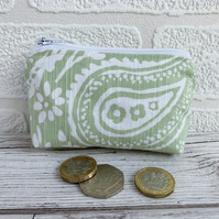 Small Purse, Coin Purse with Pale Green and White Paisley Pattern