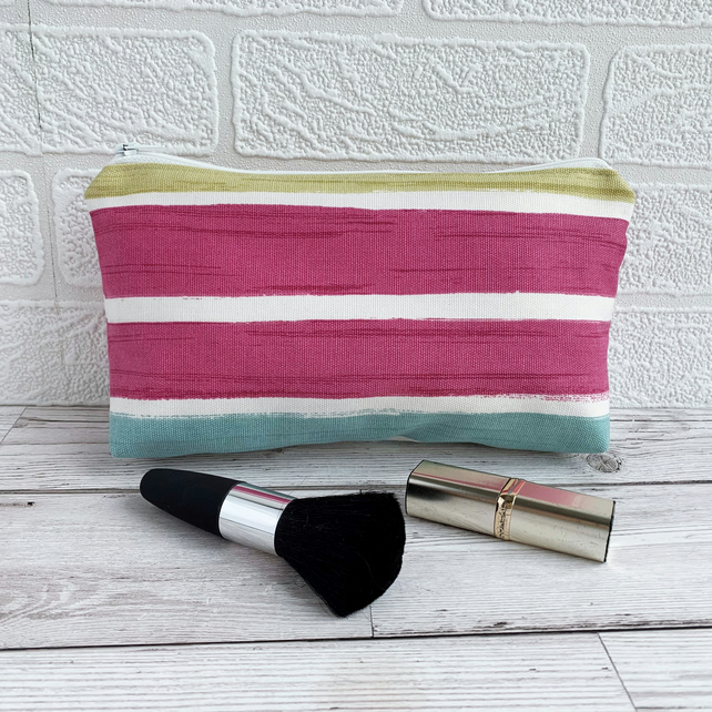 Make up Bag, Cosmetic Bag with Stripes in Bright Colours