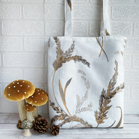 Tote Bag in Grasses Embroidered Pattern Fabric
