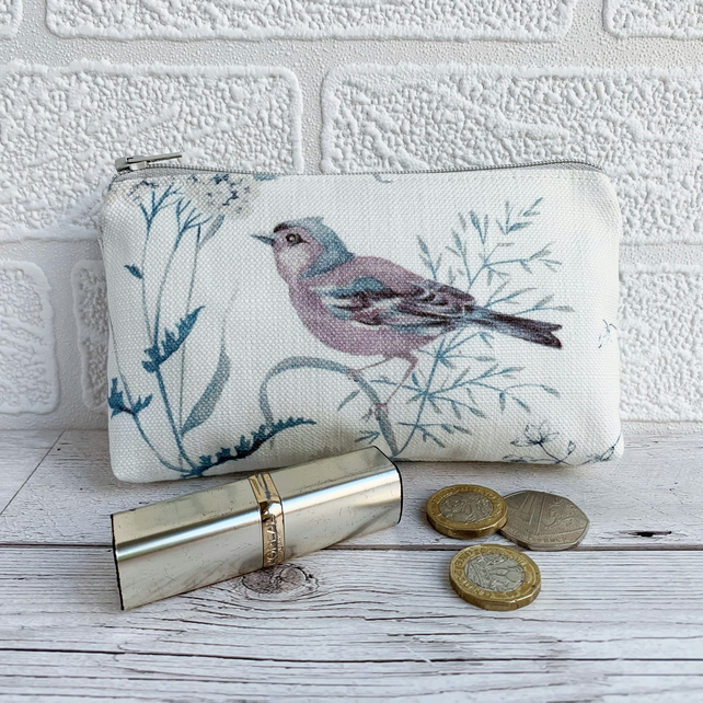 Large Purse, Coin Purse with Chaffinch and Wild Flowers
