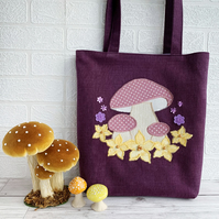 Purple Tote Bag with Mushrooms and Flowers