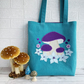 Turquoise Tote Bag with Mushrooms and Flowers