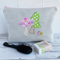 Pink and Green Mushrooms and Snail Toiletry Bag