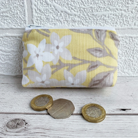 Small Purse, Coin Purse with Yellow and White Floral Pattern
