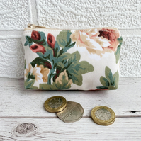 Small Purse, Coin Purse with Peach and Green Floral Pattern